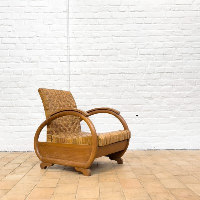Rattan and wood armchair 1950