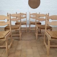 Lot de 6 chaises en chêne et paille