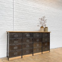 Industrial metal and wood cabinet
