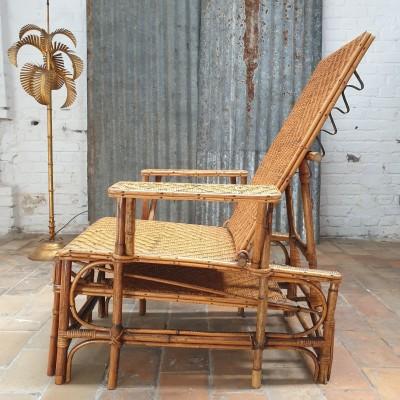 Ancienne chaise longue en  bambou et rotin 1930
