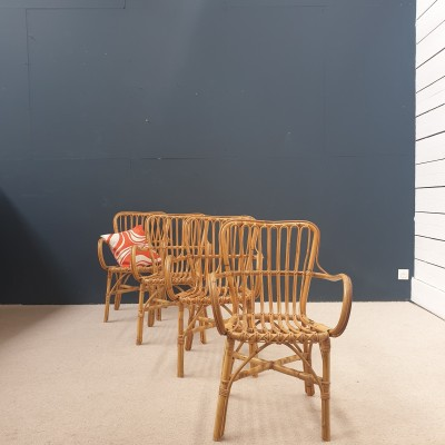 Set of 4 rattan and bamboo armchairs