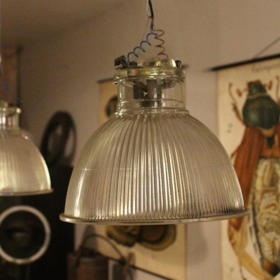 Set of 3 glass lamps Holophane 1950