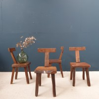 """Set of 4 brutalist  """" T """"  chairs in elm"""