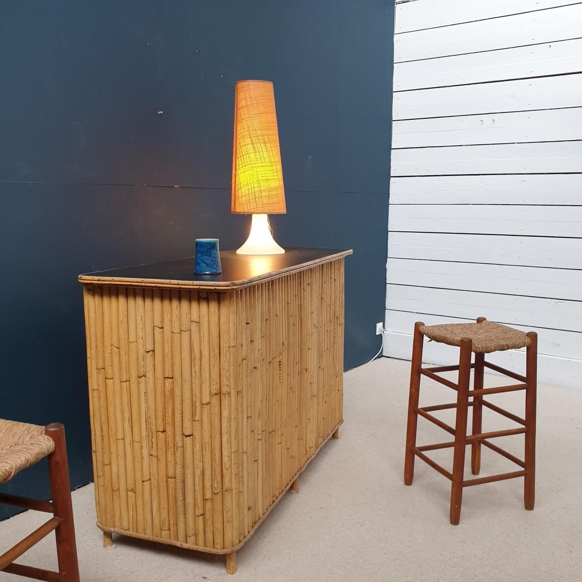 Bar en bambou et rotin 1950