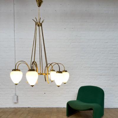 Italian chandelier in brass and glass 1950