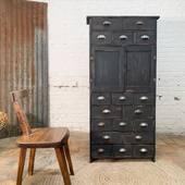 ⭐️ Ancien meuble d'atelier en bois - 154 x 75 x p24 cm - www.ma-petite-boutique.fr ⭐️