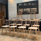 Série de 10 chaises en bois 1960 - possibilité de vente par 4 ou 6 => disponible sur notre site