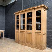 Jolie bibliothèque en chêne 4 portes - étagères intérieur modulables - 213 x 54.5 x h 197 cm. - démontable  • www.ma- petite-boutique.fr