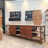 ♥️♥️ Ancien établi de garagiste métal et bois - 302 x 57 x h 85 cm -  disponible sur www.ma-petite-boutique.fr ♥️♥️