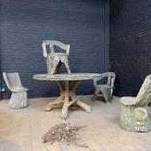 Salon de jardin 1950 en béton aspect tronc d'arbre - www.ma-petite-boutique.fr