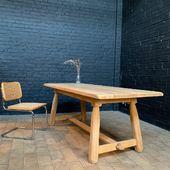 Jolie table en chêne brut des années 50 - 200 x 85 xh76 cm - www.ma-petite-boutique.fr