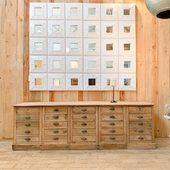 Ancien meuble de métier en chêne 251 x 70 x h80 cm - disponible sur notre site www.ma-petite-boutique.fr