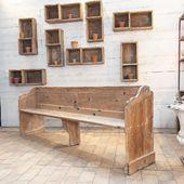 Ancien banc de chapelle en bois - disponible sur notre site !!  => 5 bancs disponibles  233 x 45 x h 83 cm Hauteur d'assise: 45 cm